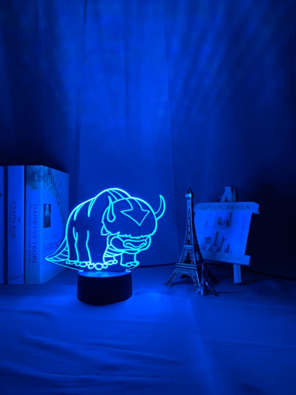 H99e340904e8640b190e2b4c05d7f106aM Luminária Acrílico 3d Lâmpada Nightlight Avatar The Last Airbender para As Crianças Decoração Do Quarto Da Criança A Lenda de Aang Figura Mesa Appa luz da noite