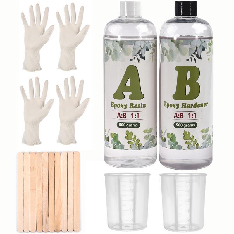 1000 г 1:1 AB УФ-отверждаемая эпоксидная смола клей в комплекте, высококлейкая кристально чистая смола для самостоятельного изготовления ювели...