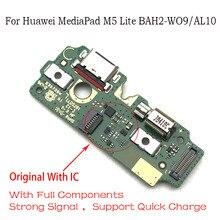 Carregador usb doca conector porto de carregamento microfone cabo flexível para huawei mediapad m5 lite BAH2 W09/al10 peças reposição