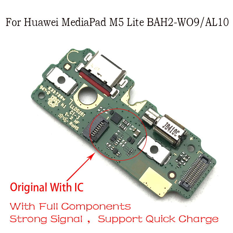 USB Charger Dock Connector Charging Port Microphone Flex Cable For Huawei Mediapad M5 Lite BAH2-W09/AL10 Replacement Parts