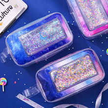 Pencil-Case Glitter Transparent Quicksand Kawaii Pen-Box School-Supplies Mermaid Girls