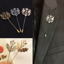 Fashion Retro Wedding Men's Jewelry Accessories Gold/Sliver Vintage Shape Suits Brooch Pin For Male Fashion Metal Jewelry(China)