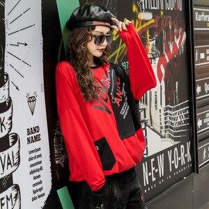Image 4 - تي شيرت نسائي فاخر موضة كورية من ماكس لولو 2019 ملابس نسائية للخريف مطبوعة ومزود بقلنسوة