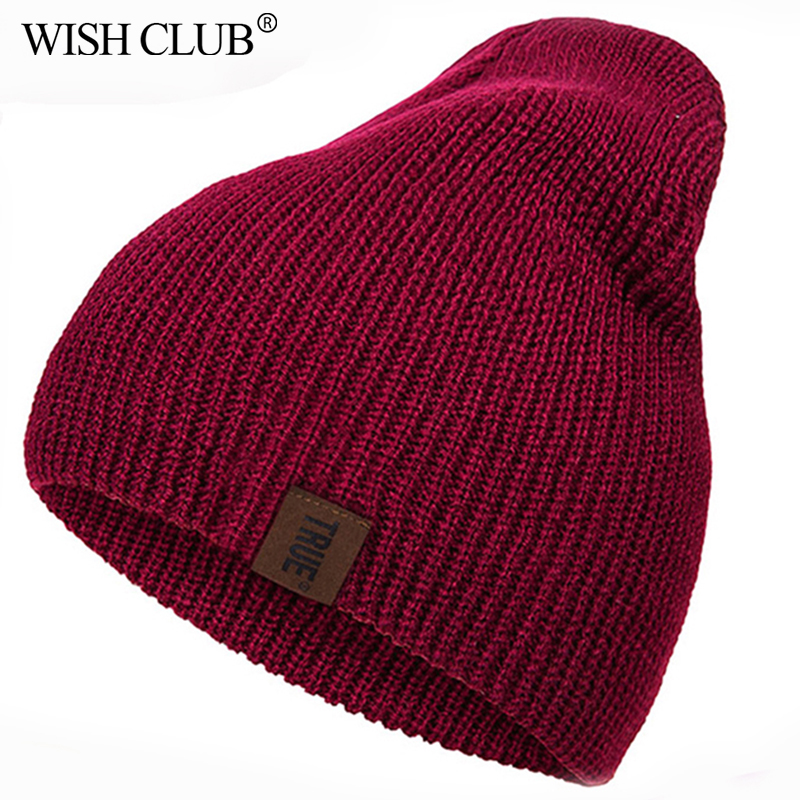 WISHCLUB Caps Winter Hat Women Men Cotton Warm Fashion PU Letter Solid Hip-hop Beanies Unisex Comfortable Knitting Hat шапка