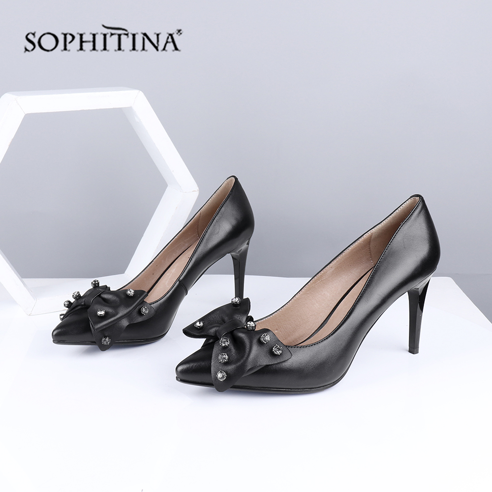 SOPHITINA Cool Design Pumps High Quality Sheepskin Sexy Pointed Toe High Thin Heel Butterfly Shoes Novel Women's Pumps SC685