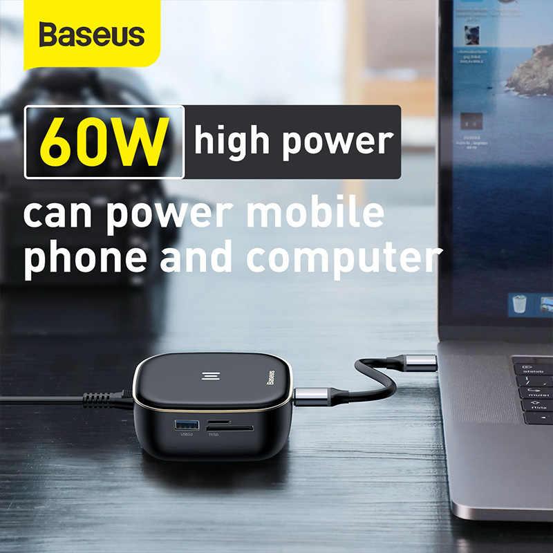Baseus 6-портовый адаптер типа C, многофункциональное зарядное устройство CN EU 2 в 1, хаб 60 Вт, мощное быстрое зарядное устройство для телефона и компьютера