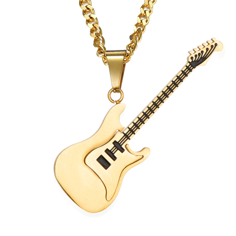 Stainless <font><b>Steel</b></font> <font><b>Guitar</b></font> Pendant <font><b>Necklace</b></font> Black Pendant <font><b>Necklace</b></font> For Men image