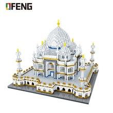цена на World Architecture Mini block Landmarks Taj Mahal Palace Model Building Blocks Children Toys Educational 3D Bricks Gifts