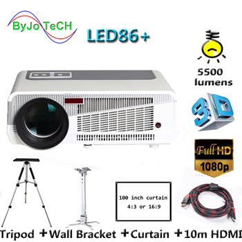 Poner Saund LED86+ LED projector supports 1080P 1280x800 Proyector 5500 lumens With Tripod 10m HDMI Curtain Wall Bracket