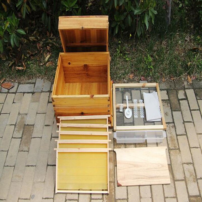Full Wooden Beehive With Frame In Beehive Base Cooking Finished Fir Garden Beekeeping Tool D007