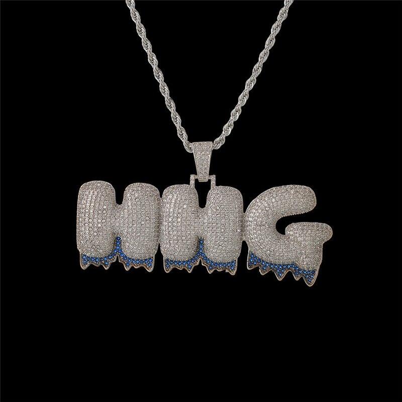 Porte-bonheur Sonny nom personnalisé bleu goutte à goutte bulle lettres chaîne colliers et pendentifs hommes Zircon Hip Hop bijoux 3mm corde chaîne Tennis
