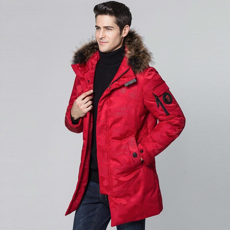 Winter Jacket Men Fashions Men's Duck Down Jacket Racoon Fur Collar Long Camouflage Red Coat Casaco Masculino KJ561