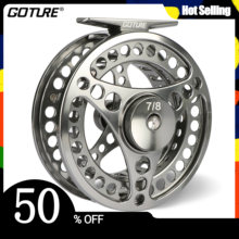 Goture 3/4 5/6 7/8 9/10 WT Fly Fishing Reel CNC Machine Cut Large Arbor Die Casting Aluminum Fly Reel with bag(China)