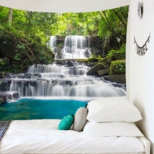 Scenery Photo Wall Hanging Tapestry Nature Forest Waterfall Printed Travel Beach Towel Blanket For Home Decorations недорого
