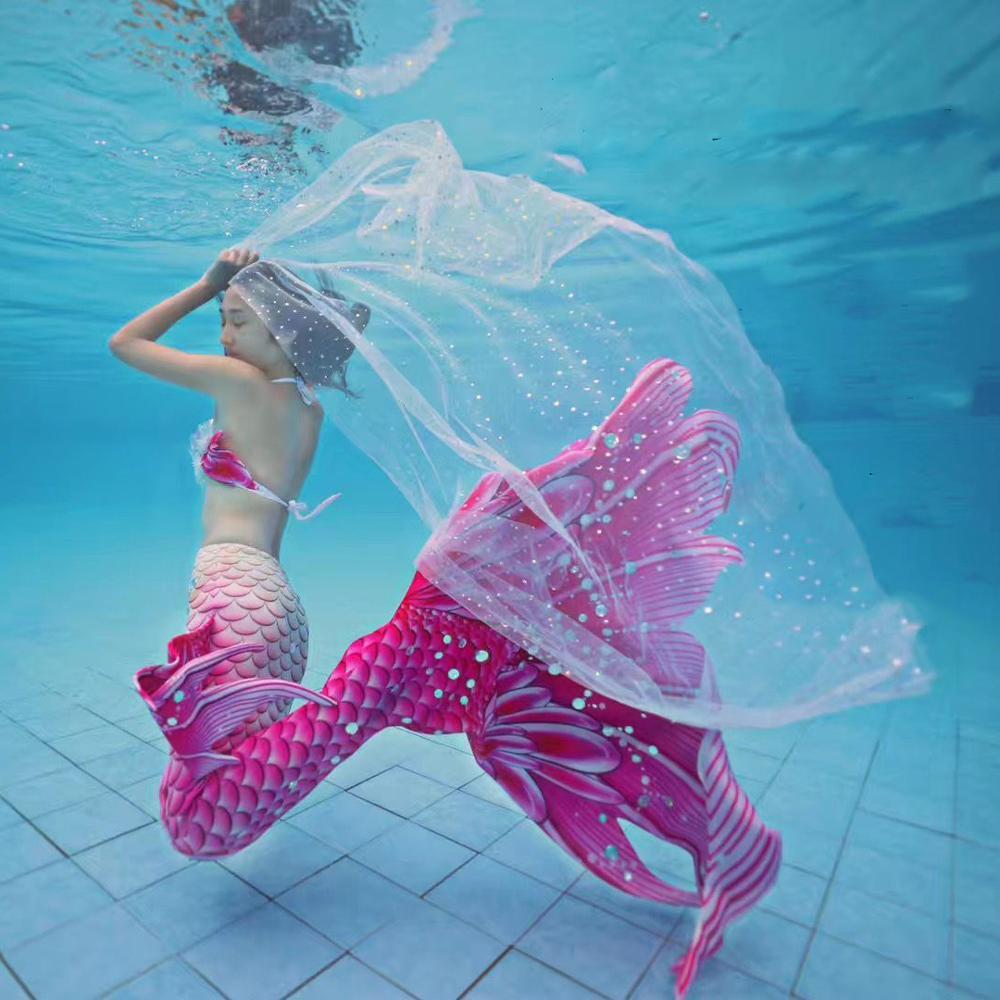 Meerjungfrau Super Lange Tüll Schwanz Badeanzug Strand Meerjungfrau Bh mit Monofin Schwimmen Sommer Cosplay Angepasst Leistung Kostüm