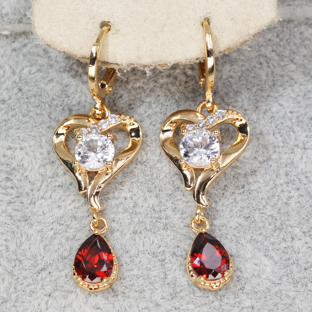 H99e428f1a93e476b937f772984bc99176 - Trendy Vintage Drop Earrings For Women Gold Filled  Red Green Pink Lavender Zircon Earrings Gold  Earring Wedding  Jewelry