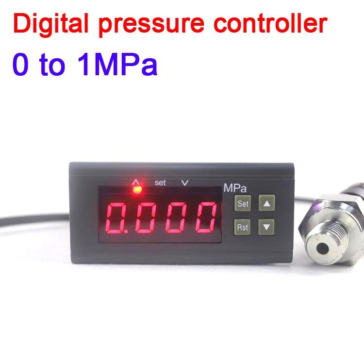 Tüketici Elektroniği'ten Pil Aksesuarları'de DYKB 0 ila 1MPa Dijital basınç kontrolörü LED Basınç ölçümü ve kontrol W/alarm + probe AC 220V 110V DC 12V 24V title=