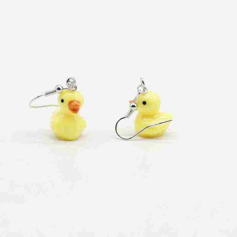 Cute emulated little yellow duck pendant earrings, exquisite fun daily gifts for women and girls