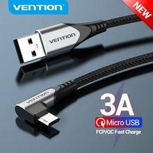 Cavo Micro USB Vention 3A cavo dati di ricarica rapida ad angolo retto per Xiaomi Remdi cavo caricabatterie USB per telefono cellulare Samsung Android