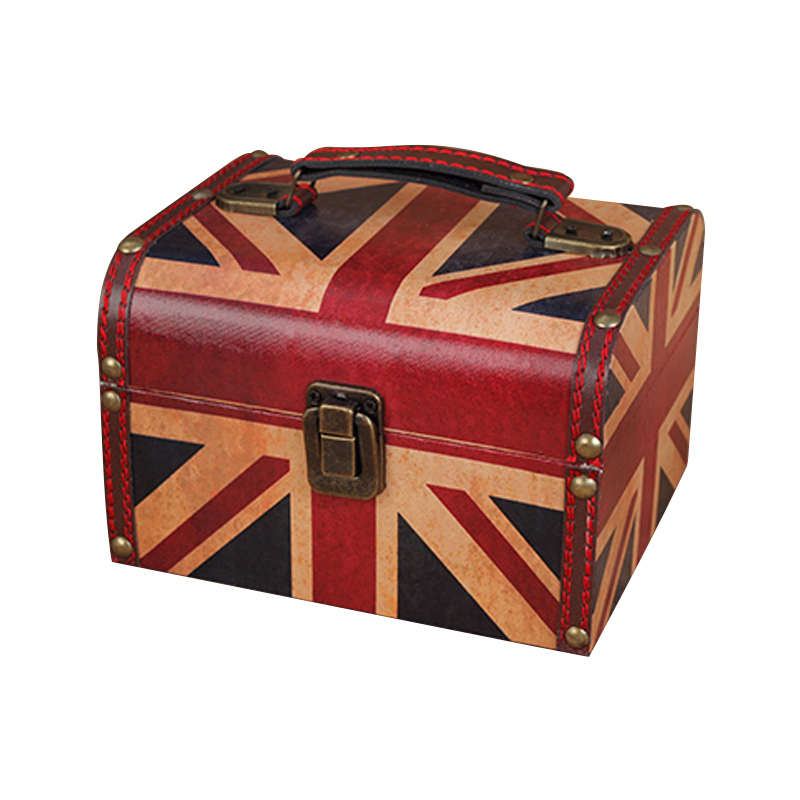 Decorative Box Decoration Crafts Variety Retro Box Antique Wooden Leather Small Portable Cosmetic Box Storage Box