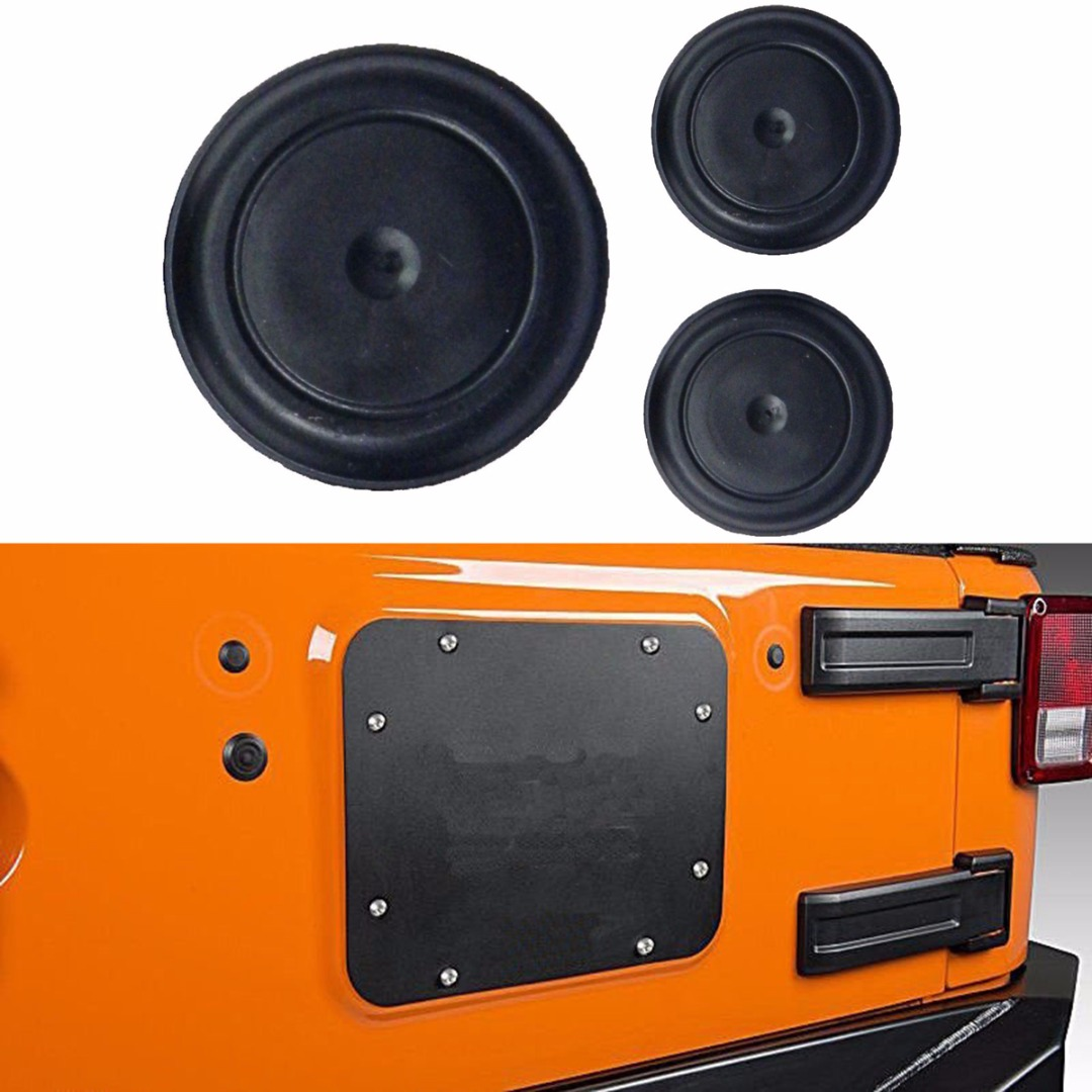 New Arrival 3pcs Rubber Removable Plug Set Waterproof Plugs Accessories For Jeep Wrangler JK 2007-2018