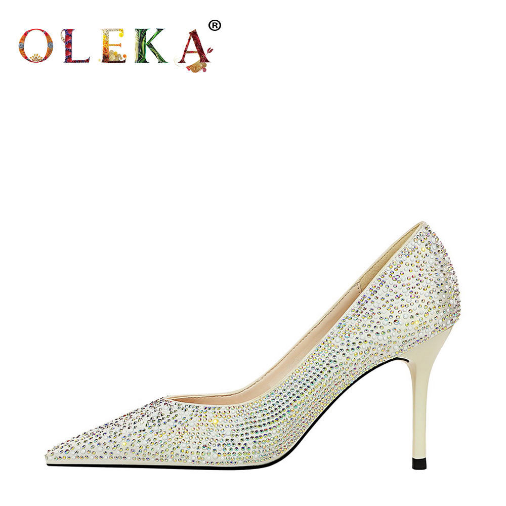 OLEKA Super High Women Shoes 2020 Fashion Style Shallow Pumps New 2020 Strange Heelparty Spring/autumn Basic Pointed Toe Heels