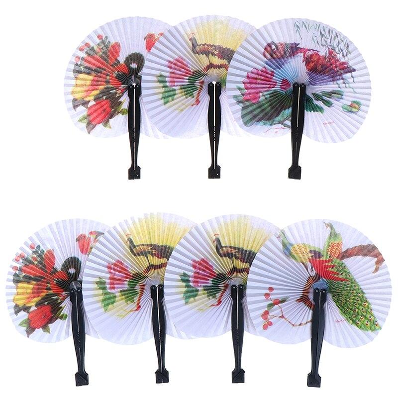 1PC Female Flower Handheld Fan Chinese Pocket Folding Hand Fan Round Circle Printed Paper Decorative Fan Party Decor Gift Random