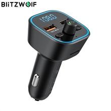 Blitzwolf BW BC1 車のbluetooth 5.0 fmトランスミッタ 18 ワットqc 3.0 usb車の充電器rgbデジタルディスプレイのbluetoothオーディオアダプタ音楽