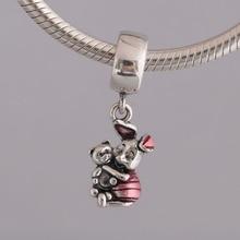 925 пробы серебряный кулон DIY Ювелирные изделия поросенок и медведь болтаются Шарм fit Pandora браслет