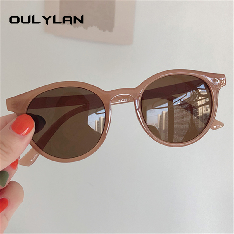 Oulylan Round Sunglasses Women Brand Designer Vintage Sun Glasses Ladies Shades Eyewear Korean Style