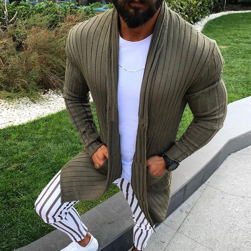 Cardigan Men Long Sleeve Striped Midi Sweater Coat with Pocket Winter Autumn Casual Solid Color Cardigans Pull Homme Hiver