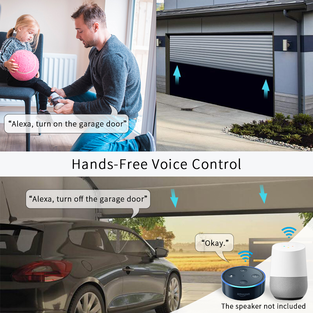 cheapest Garage Door Sensor Opener Controller Remote WiFi Switch Tuya Smart Life App Alert works with Google Home Alexa Home Automation