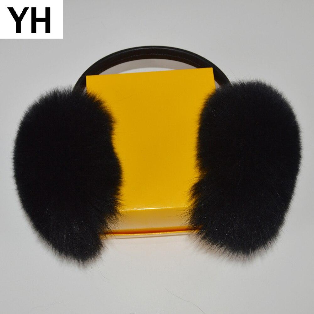 2019 Brand Fashion Women Fluffy Real Fox Fur Earmuffs Winter Lady Big Fox Fur Plush Ear Muff 100% Real Natural Fox Fur Earlaps