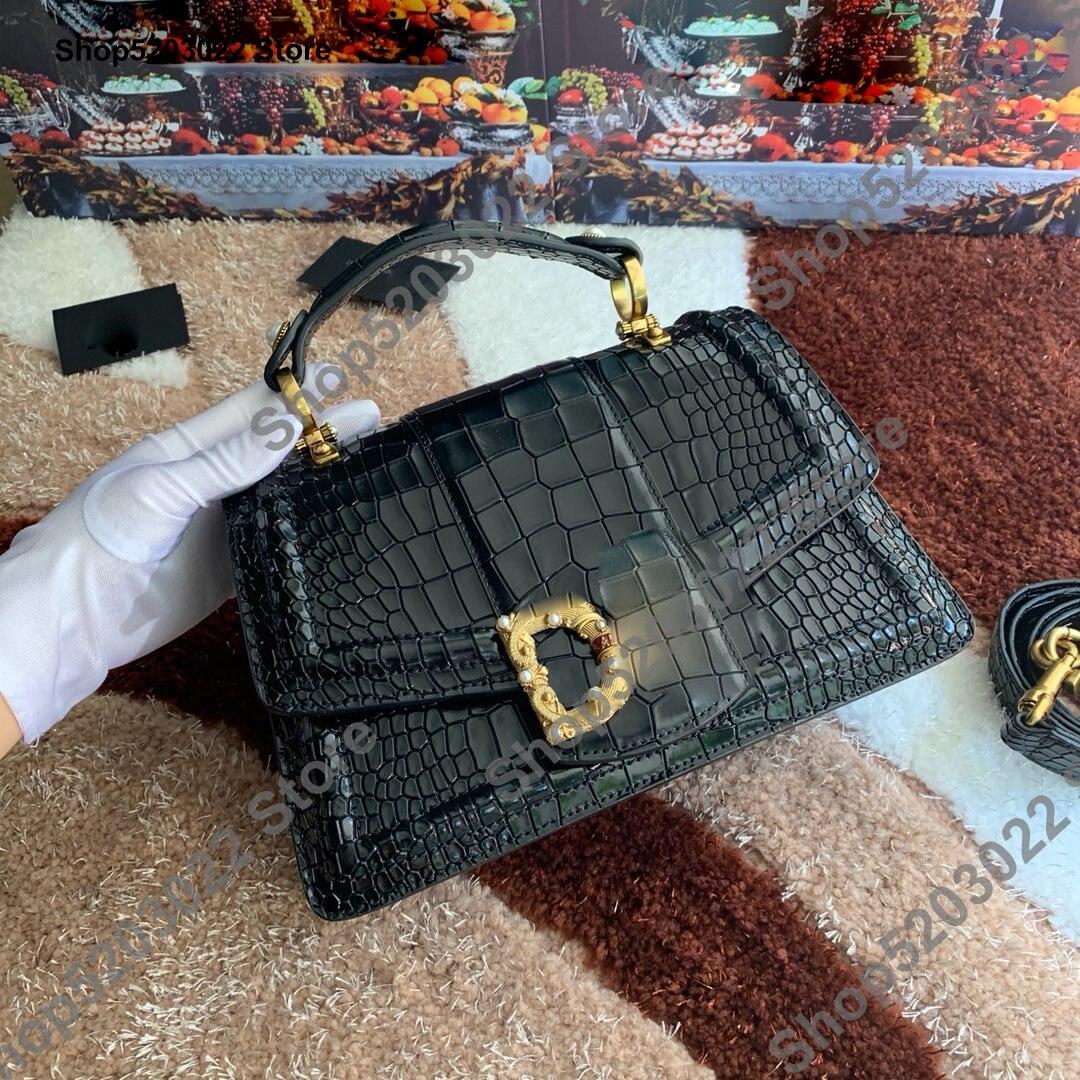 Cowhide Genuine Leather Bags For Women Vintage Luxury Real Leather Handbags Women Bags Designer Crocodile Pattern Shoulder Bag