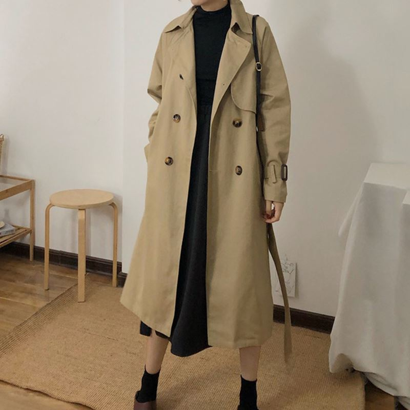 Spring And Autumn Women Fashion Brand Korea Style Waist Belt Loose Khaki Color   Trench   Female Casual Elegant Soft Long Coat -85