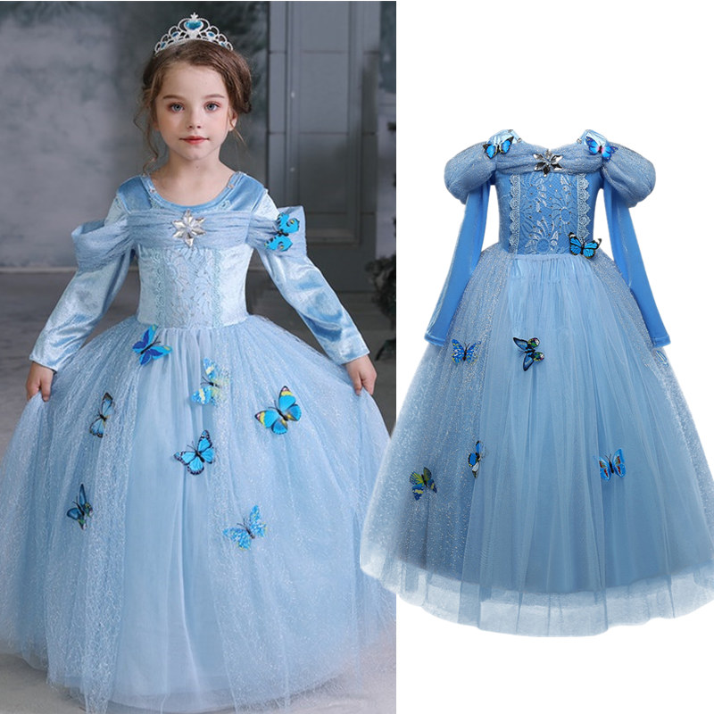 Cinderella <font><b>Girls</b></font> Elsa <font><b>Dress</b></font> Costumes For Kids Cosplay <font><b>Dresses</b></font> <font><b>Princess</b></font> Anna <font><b>Dress</b></font> Children Party <font><b>Dresses</b></font> Fantasia Vestidos 10 Yr image