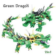 Lloyds Green Dragon Fighting Mech 닌자 시리즈 크리에이터 2in1 세트 DIY 빌딩 블록 어린이를위한 어린이 장난감 교육 선물