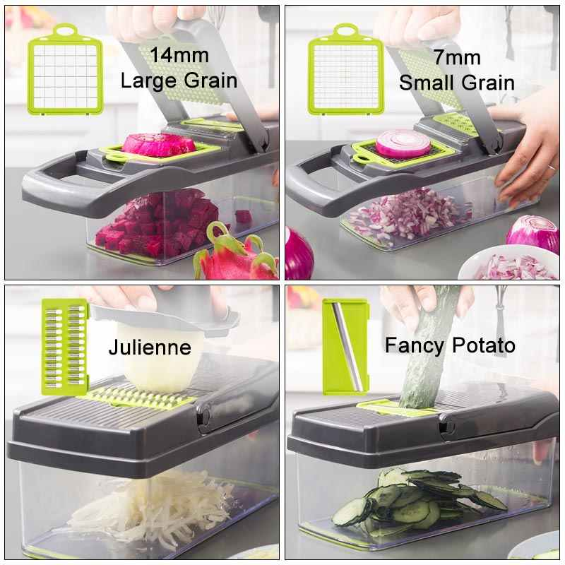 Multifunktions Gemüse Cutter Küche Zubehör Knoblauch Presse Stahl Klinge Kartoffel Schäler Karotten Shredder GraterVegetable Slicer