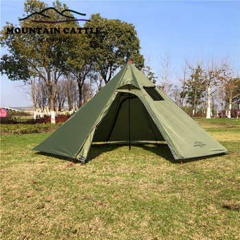 Outdoor Camping Teepee Big Pyramid Tent 3-4 Person Backpacking Hiking Tent with Stovepipe Hole Awnings Sun Shelter Travel Tent