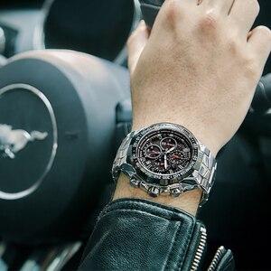 WWOOR-Reloj de lujo con esfera grande para hombre, cronógrafo deportivo para hombre, de cuarzo, resistente al agua, de pulsera de acero completo, 2020