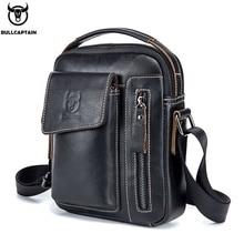 BULLCAPTAIN Genuine Leather Men Shoulder Crossbody Bags Cow Leather Fashion Handbag Brand Casual Mens Messenger Bag Black