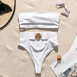 Mossha, белый женский купальник, бандо, бикини, 2020, Mujer, металлическая пряжка, пояс, женский купальник бикини, женский купальник 4