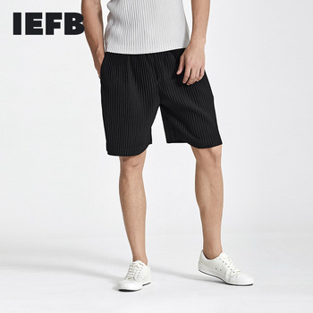 IEFB Japanese Streetwear Fashion Pleated Men's Shorts 2021 Summer New Man's Casual Straight Knee Length Pants Black Grey 9Y6251 1