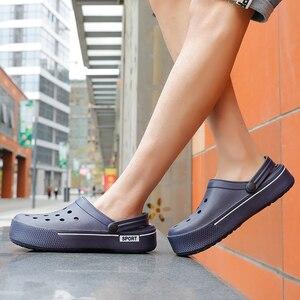 Image 2 - 2020 New Sandals Men Square Hole Couple Sandals Summer Flip flops Breathable Beach Shoes Comfortable Men and Women Shoes