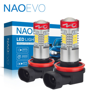 цена на NAOEVO H11 LED H8 HB4 HB3 Car Fog light H10 H16 White 1300LM 9005 9006 Auto Driving Running Lamp H9 Bulb 2835 SMD 12V 6000K