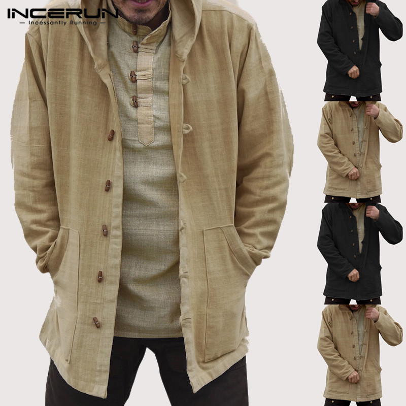 INCERUN Autumn Vintage Men Hoodies Cotton Pockets Casual Button Long Sleeve Hooded Sweatshirts Streetwear Loose Outerwear 2019