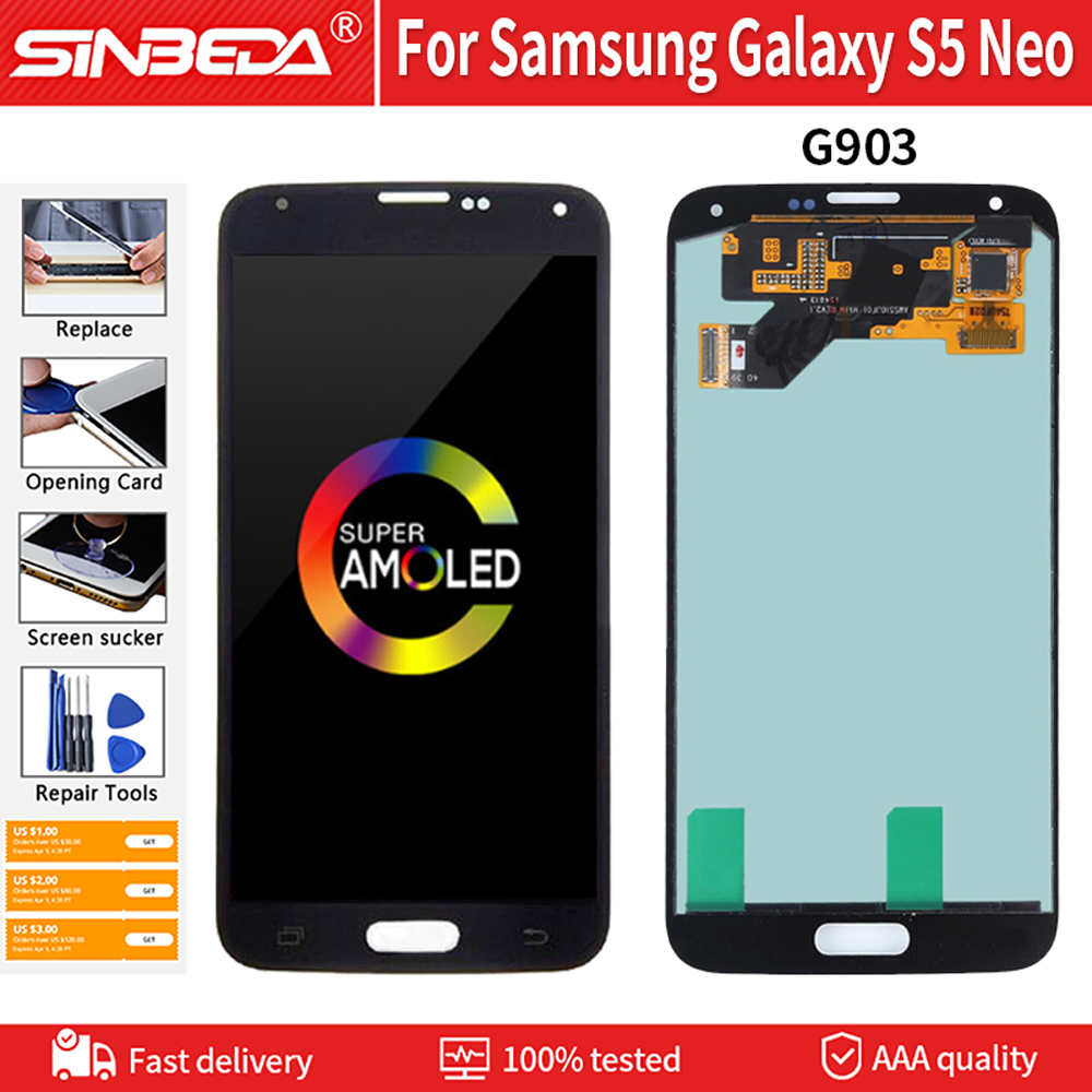 """5.1"""" AMOLED For Samsung Galaxy S5 NEO LCD G903 SM G903M G903F LCD Display Touch Screen Digitizer Assembly Replacement Parts(China)"""
