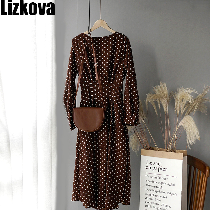 Lizkova White Chiffon Dress Women Dot Full Sleeve Elastic Waist Dress 2020 Autumn Elegant O-neck Lantern Sleeve Ladies Dress(China)