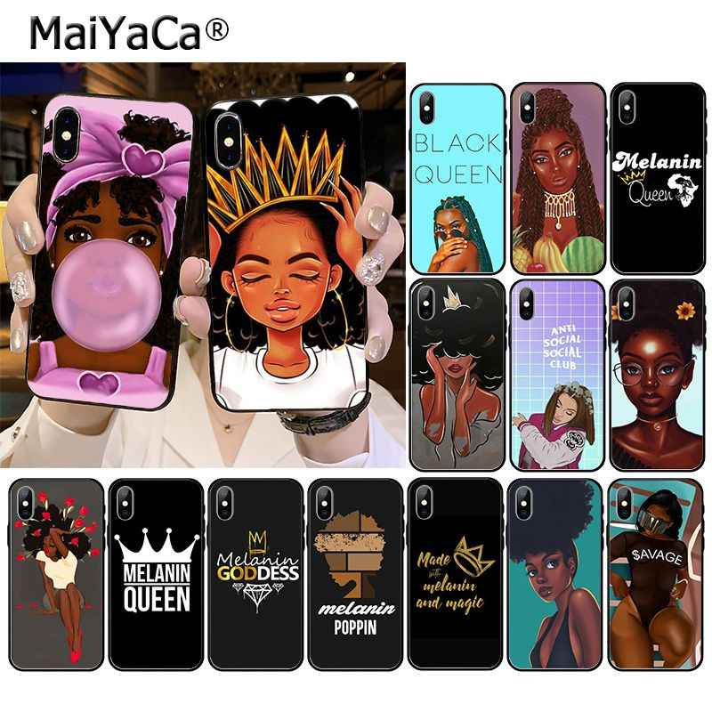 Afro Black Girl Magic Queen Melanine Poppin Telefoon Case Voor Iphone 11 Pro Xs Max Xs Xr 8 7 6 plus 5 5S Se 12 Mini 12PRO Max