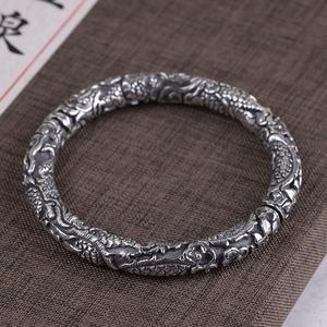 Image 5 - 手作り 100% 990 シルバードラゴン 925 スターリングドラゴンカフブレスレット純銀男ブレスレット幸運